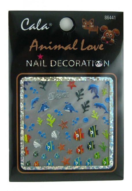 Dolphins, Fish, Shells Nail Decal by Cala