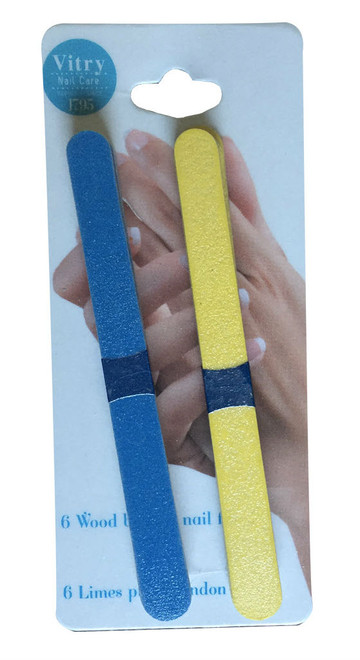 Vitry 12-Pack Small Wood Backed Nail Files (Blue & Yellow)