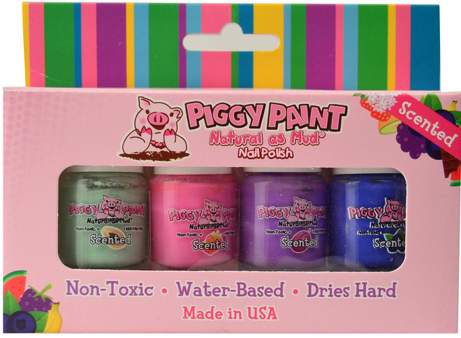 Piggy Paint for Kids 4 pc Fruity Scented Polish Mini Set B
