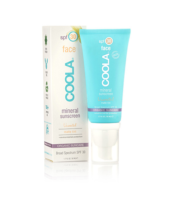 Coola Sunscreen Mineral Face SPF 30 Unscented Matte Tinted Sunscreen (1.7 fl. oz. / 50 mL)