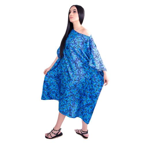20. Blue Morpho Cyan Versatile Kaftan