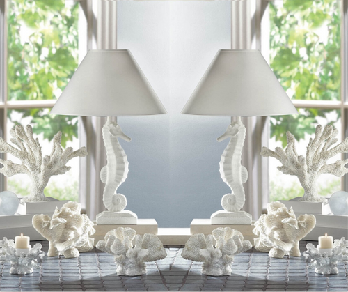 white seahorse table lamps