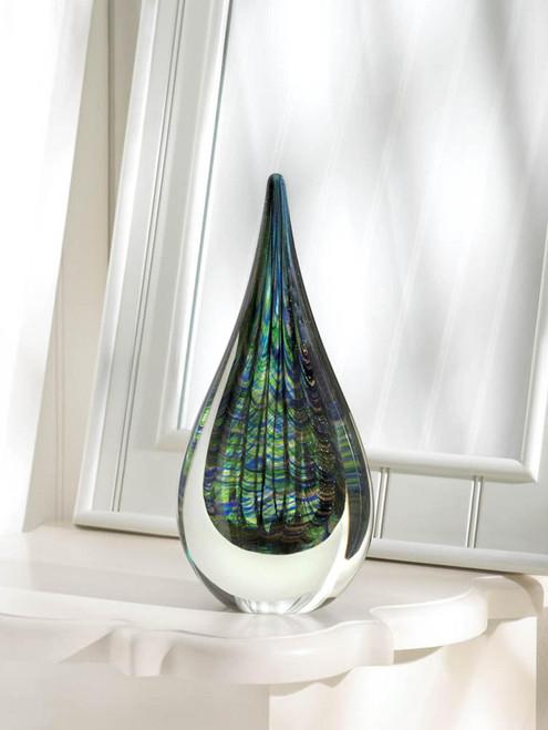 peacock inspired art glass vase