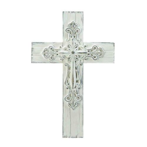 ornate whitewashed wall cross