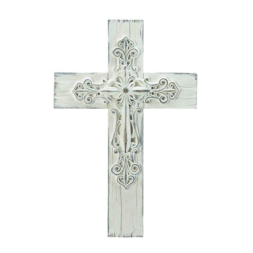 ornate whitewashed wall cross
