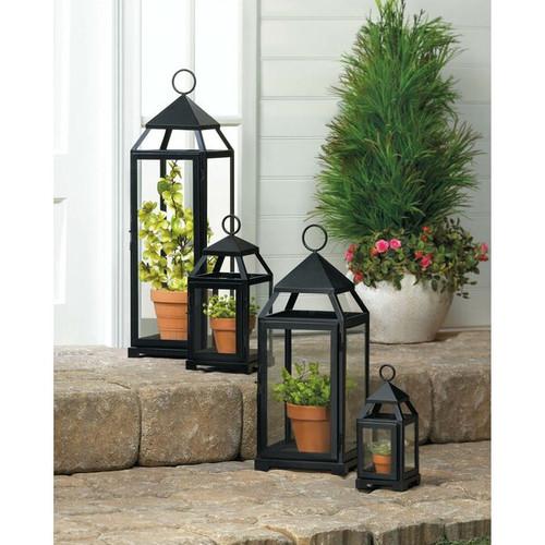 black contemporary candle lanterns