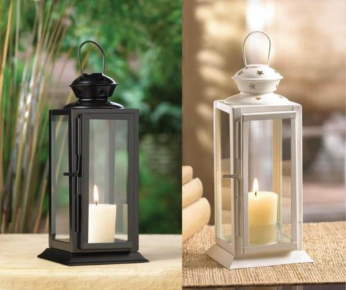 starlight black white candle lanterns