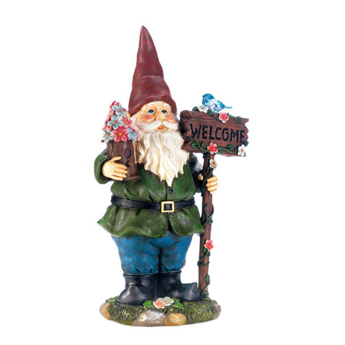 solar bluebird gnome welcome statue