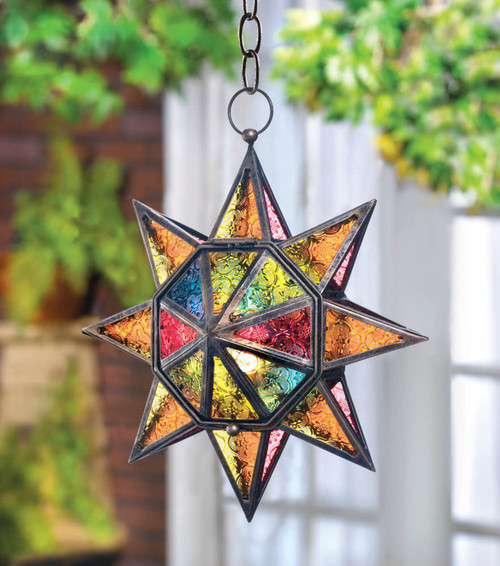 multi colored hanging lantern