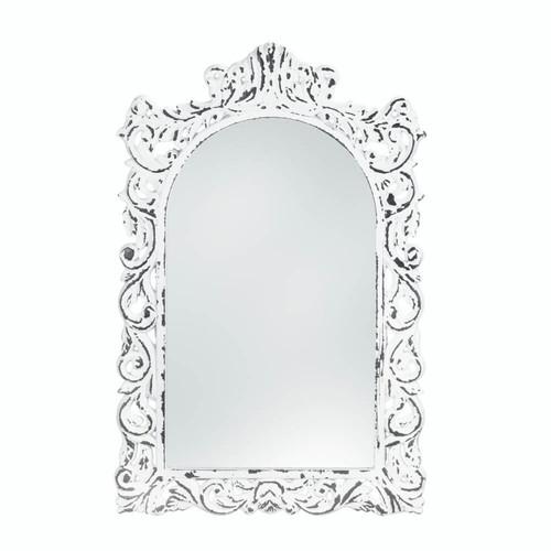 distressed white ornate wall mirror