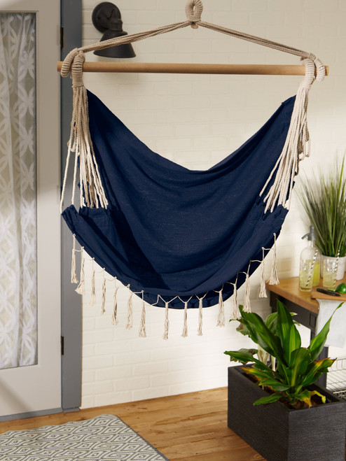 chambray hammock chairs with fringed trim