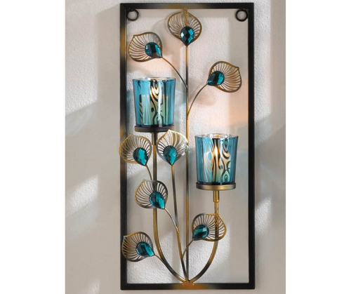 peacock two candle wall sconce