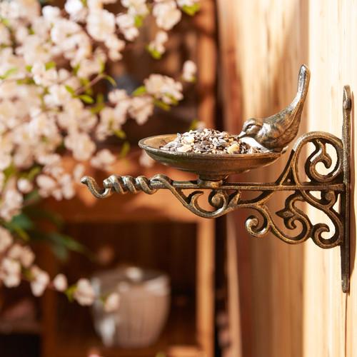 wall mounted ornate cast iron bird feeder