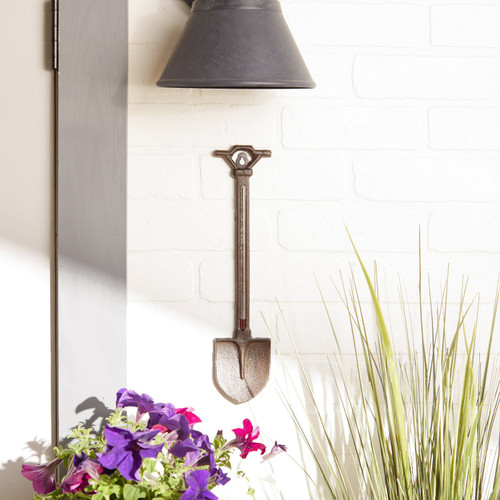 garden shovel cast iron thermometer
