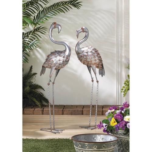 Standing Galvanized Flamingo Statues
