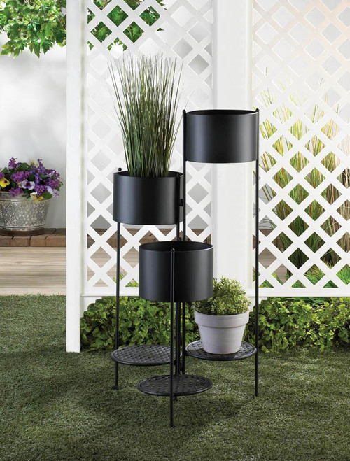 3 tier barrel bucket plant stand set