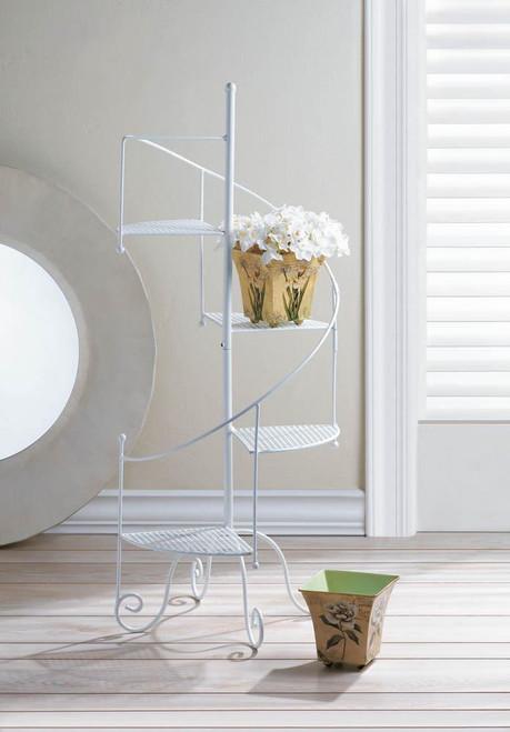 white spiral plant stand