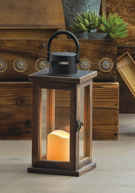 lodge wooden lantern with flameless candle