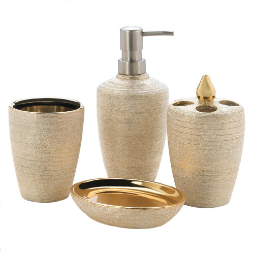 golden shimmer bath accessories