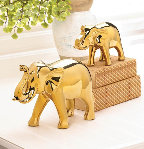 golden elephant figurines