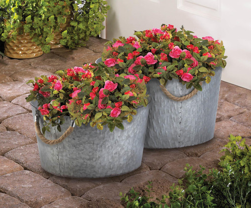 galvanized textured buckets