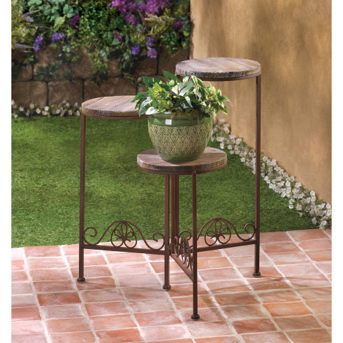 rustic triple plant stand