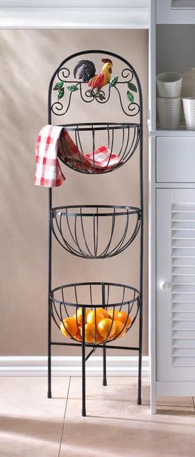 rooster 3 tier kitchen basket