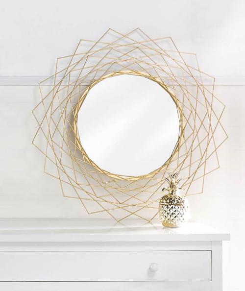 golden geometric wall mirror