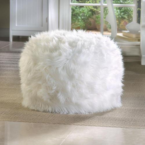 fuzzy white ottoman