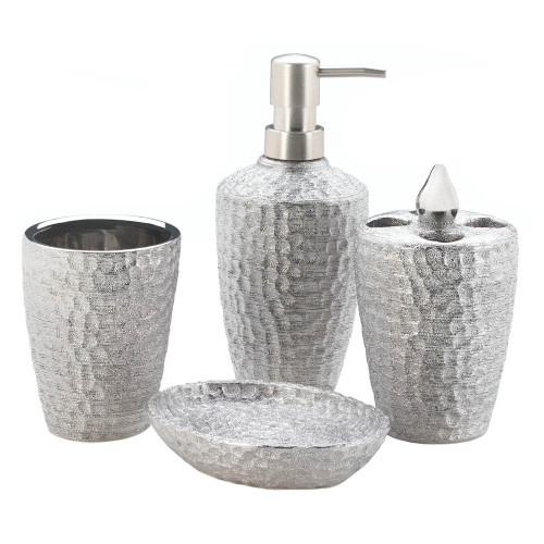 hammered silver texture bath set