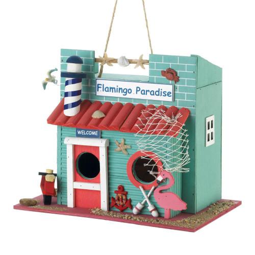 flamingo paradise birdhouse