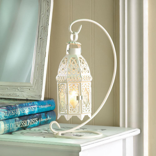 white candle lantern with stand