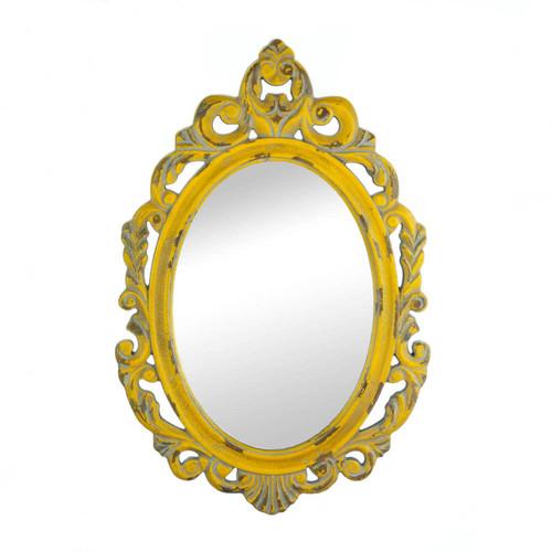 Vintage Weathered Hannah Yellow Wall Mirror