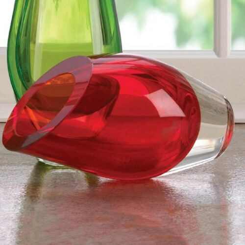 red cut glass vase