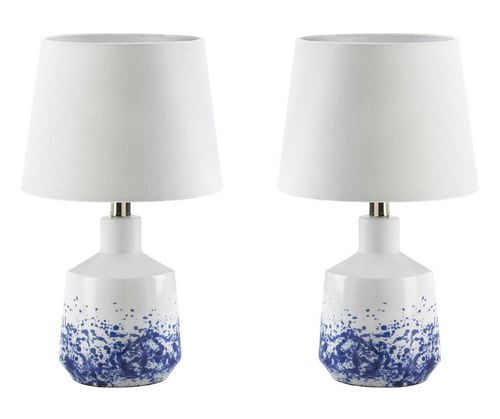white and blue splash table lamps