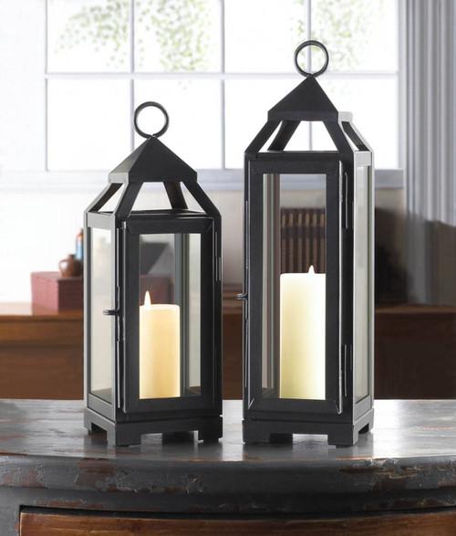 Sleek Dark Gray Iron Slate Lanterns