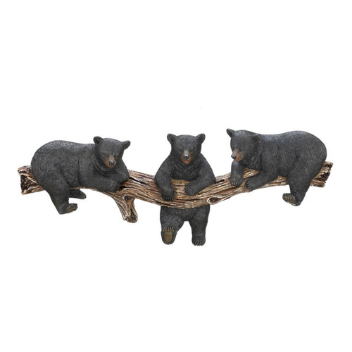 black bears trio foot hanger wall plaque