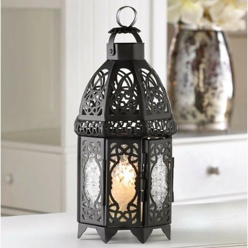 black lattice candle lantern
