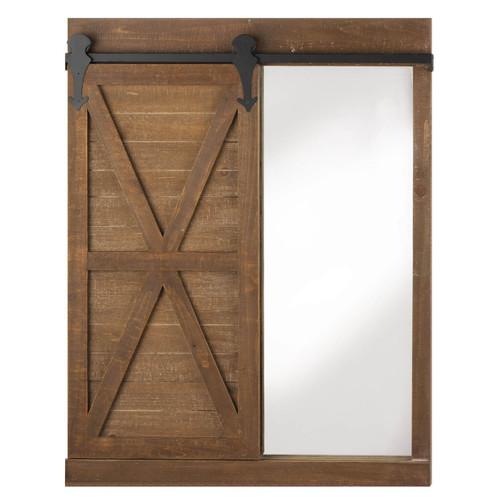 mirror and chalkboard with barn door