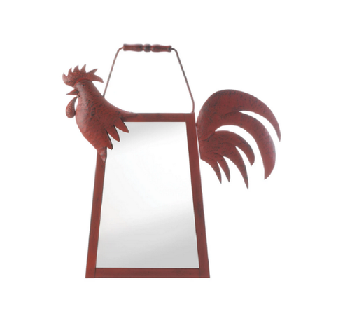 red rooster hanging mirror