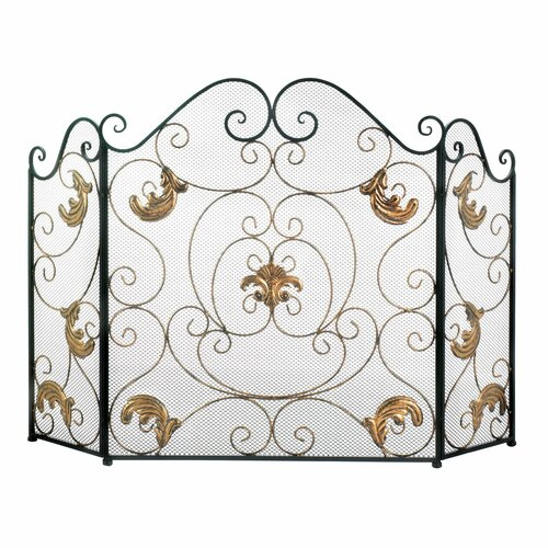 Gold Fleur De Lis Fireplace Screen