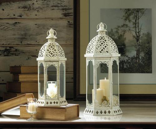 graceful distressed white candle lanterns