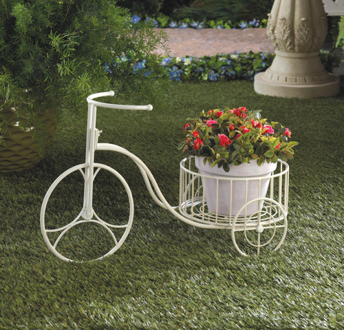 White Tricycle Planter Display