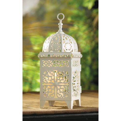 white scrollwork candice lantern