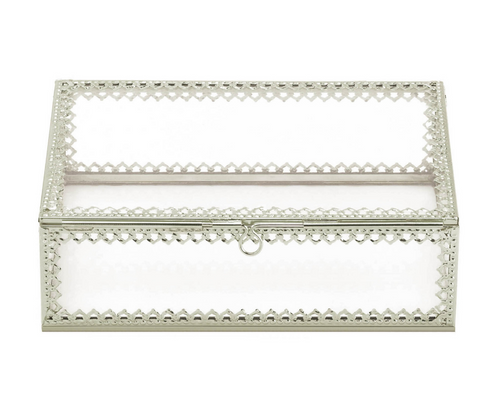 silver trimmed glass jewelry box