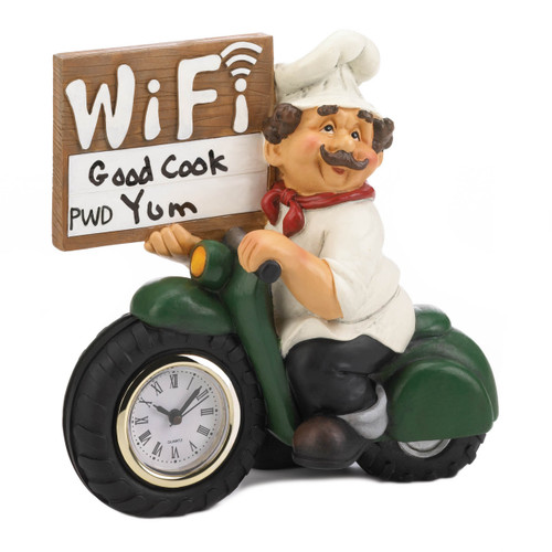 chef wifi sign and clock