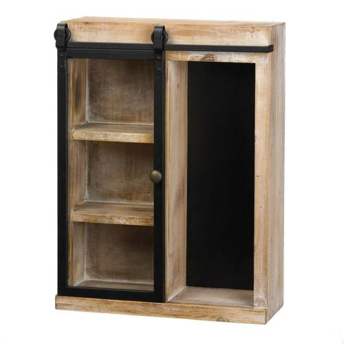 Wall Shelf With Glass Barn Door