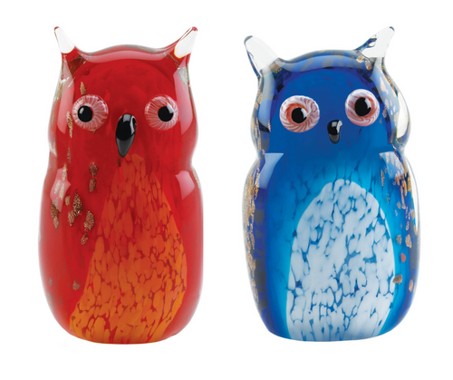 Blue And Red Owl Art Glass Sculpture
