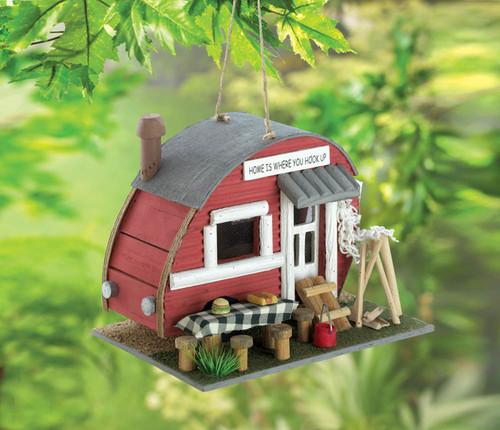 red trailer birdhouse