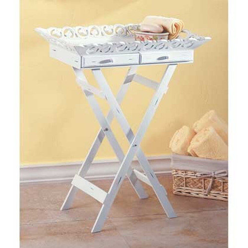 distressed white french standing tray